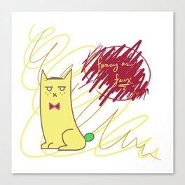 Sour Puss Fancy as Faux Canvas Print