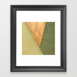 Golden Triangle With Green and Cream Framed Art Print