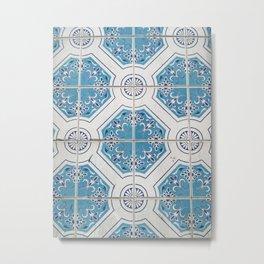 Porto Blue Tiles V Metal Print