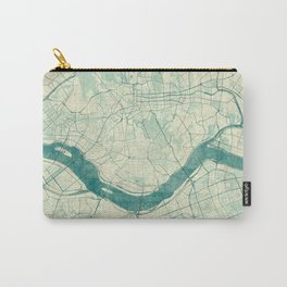 Seoul Map Blue Vintage Carry-All Pouch