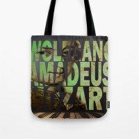 mozart Tote Bags featuring Wolfgang Amadeus Mozart by Ganech joe