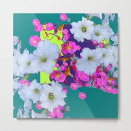 White Garden Petunia & Morning Glories Flowers Turquoise Art Metal Print