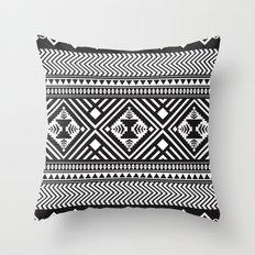 Monochrome Aztec inspired geometric pattern Throw Pillow