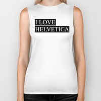 helvetica Biker Tanks featuring HELVETICA by try2benice