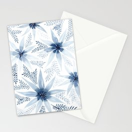 Winter Blue Flowers Stationery Cards