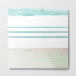 nautical stripes: aqua & sand Metal Print