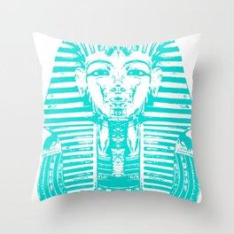 Egyptian Face Blue Throw Pillow