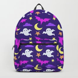 Happy halloween ghosts,bats,moon and stars pattern Backpack