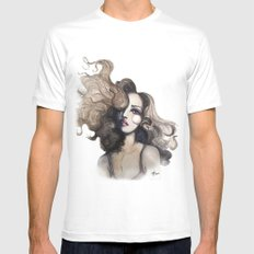 Curl // Fashion Illustration MEDIUM White Mens Fitted Tee
