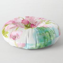 Dreamy Shabby Chic Ranunculus Peonies Roses Print - Spring Summer Garden Flowers Mason Jar Floor Pillow