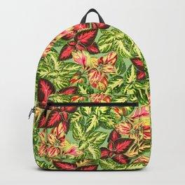 Scattered Garden Plants Pattern - Green Linen Backpack