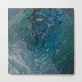 Unseen - dark teal acrylic pour abstract art Metal Print