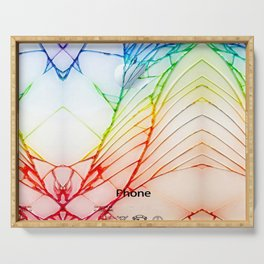 Rainbow Broken Damaged Cracked out back White iphone Serving Tray