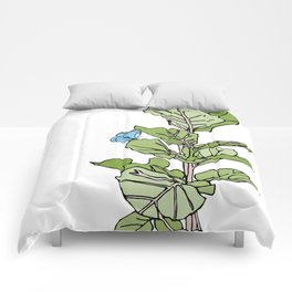 Lined Fig Tree and Blue Butterfly Comforters