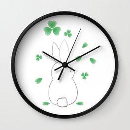 Spring Bunny Clovers Wall Clock