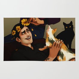 Flower man and cats Rug