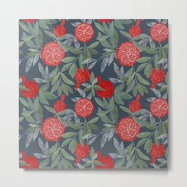 Pomegranate garden on navy Metal Print