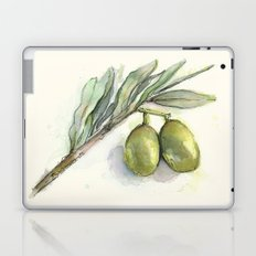 Olive Branch | Green Olives | Watercolor Illustration Laptop & iPad Skin