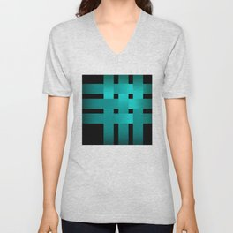 Abstraction .Weave turquoise satin ribbons . Patchwork . Unisex V-Neck