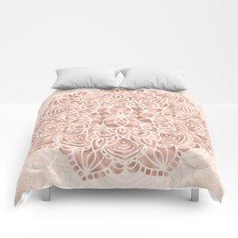 Mandala Seashell Rose Gold Coral Pink Comforters