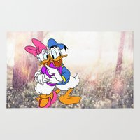 donald duck Area & Throw Rugs featuring Duck Love by Christa Morgan ☽