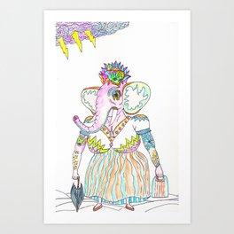 Elephant lady Art Print