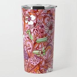 Daisy and Bellflower pattern, pink Travel Mug
