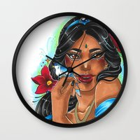 jasmine Wall Clocks featuring Jasmine by Little Lost Forest