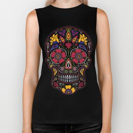 Day of the Dead Sugar Skull Biker Tank