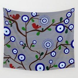 Lucky Evil Eye Bird Tree Wall Tapestry