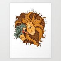lion Art Prints featuring Lion by Tatiana Obukhovich