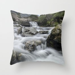 Waterfalls in Snowdonia Throw Pillow