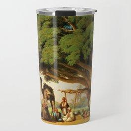 Classical Masterpiece: Travelling artists sketching an Arab Encampment, Cairo by  Émile Vernet-Lecom Travel Mug