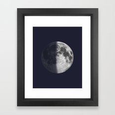First Quarter Moon on Navy Framed Art Print