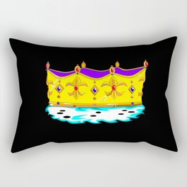 A Royal Gold Crown with Black Background Rectangular Pillow