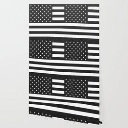 American Flag Stars and Stripes Black White Wallpaper