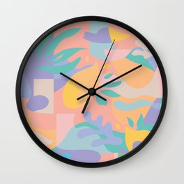 Lemons in Amalfi / Abstract shapes, Pink, Turquoise, Yellow, Lavender Wall Clock