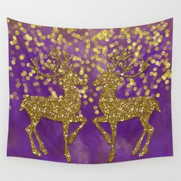 Purple Christmas faux golden glitter deer Wall Tapestry