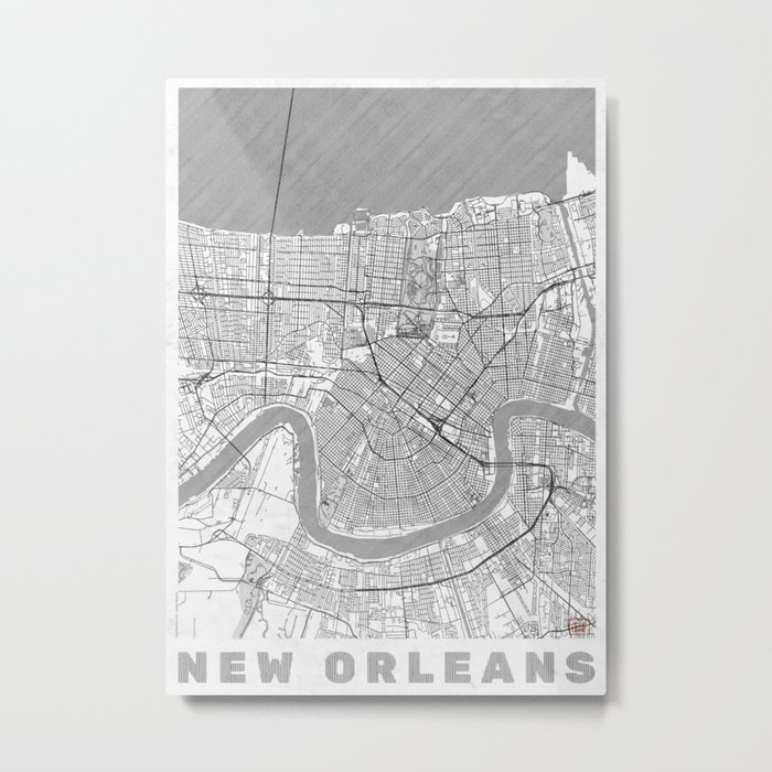 New Orleans Map Line Metal Print