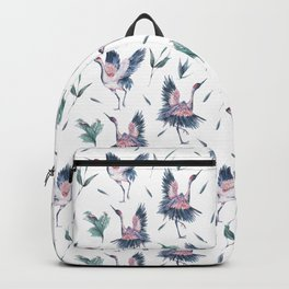 Watercolor crane and pink peonies Backpack