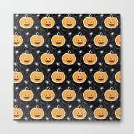 Happy Pumpkin - Pattern Metal Print