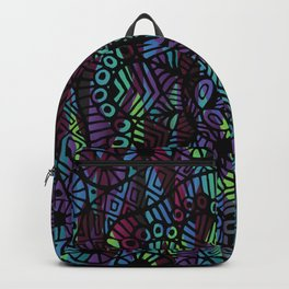 Purple and Green Doodle 14 Backpack