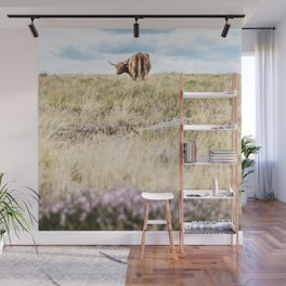 Highland Coo in Heather Wall Mural