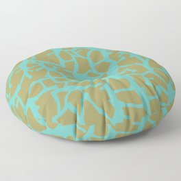 Migration Turqoise on Olive Floor Pillow