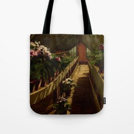 Summer Dutch Light Flower Greenhouse, New England floral portrait painting by Abbott Fuller Graves Tote Bag