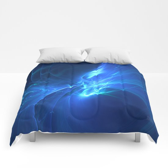 Electric Blue Fractal Comforters