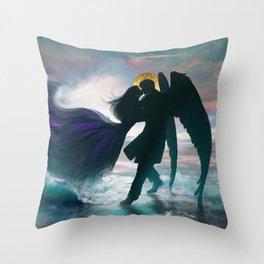 Angel romance embrace Throw Pillow