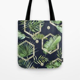 Tropical navy blue & gold Tote Bag