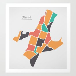Newark New Jersey Map with neighborhoods and modern round shapes Art Print