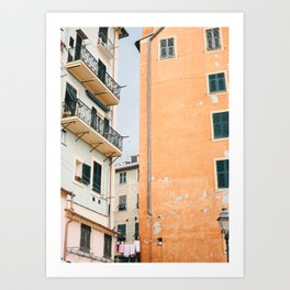 Italian Streets of the Riviera   Rustic Orange Building   Italy travel photography wall art  Art Print